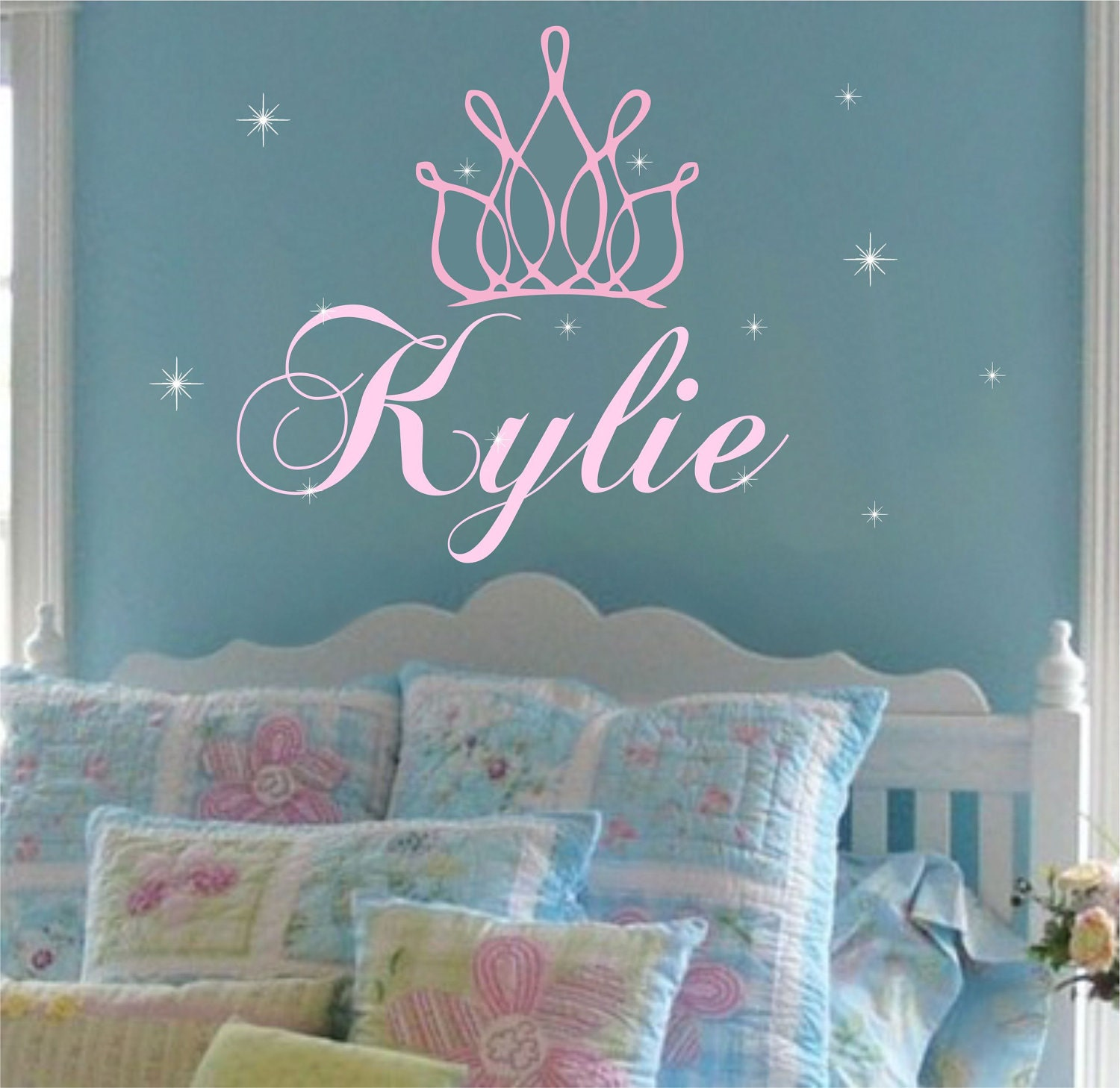 princess crown name wall decal girl nursery by allonthewallvinyl