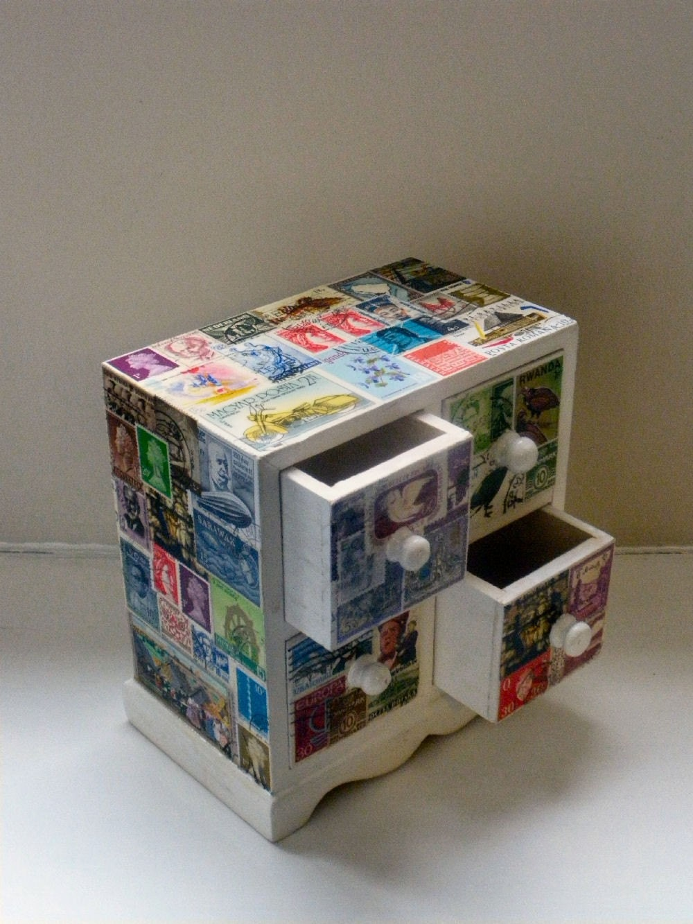 Stamp Upcycled Miniature Chest Of Drawers By Katelj On