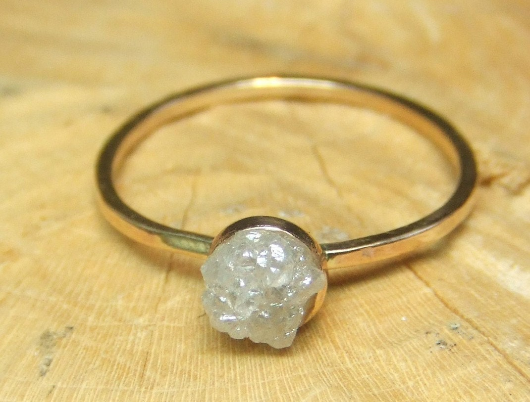 Gray Silvery Rough Diamond Ring - One Of A Kind