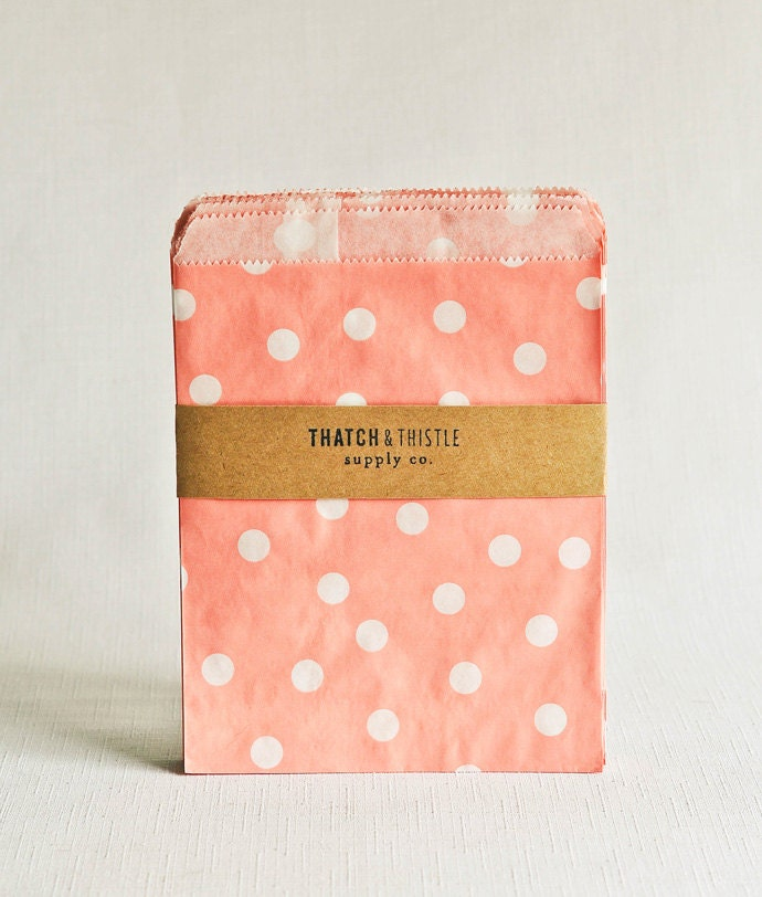 Paper Bags in Baby Pink Polka Dots - Set of 20 - 5x7 Party Favor Kraft Gift Wrapping Invitations Packaging Embellishment Sacks Merchandise - thatchandthistleco