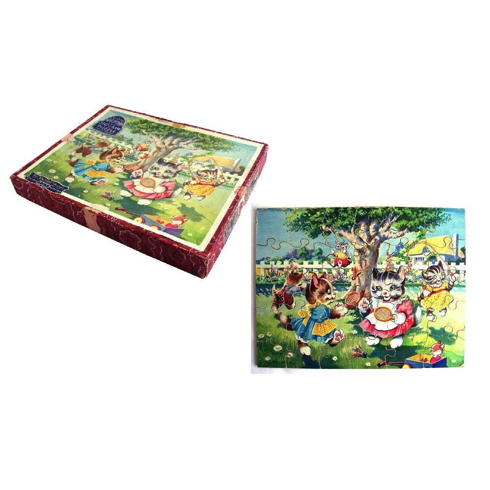 Rare Vintage 1950s Victory Wooden Jigsaw Puzzle Kitten Cat Tennis Toys Cottage Games Woodland Family Outdoor Game Childrens Toy Nursery Art