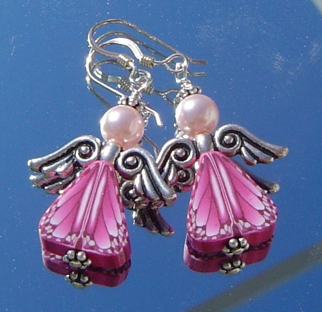 Pink Butterfly Wing Angels Pewter and Sterling Silver Earrings