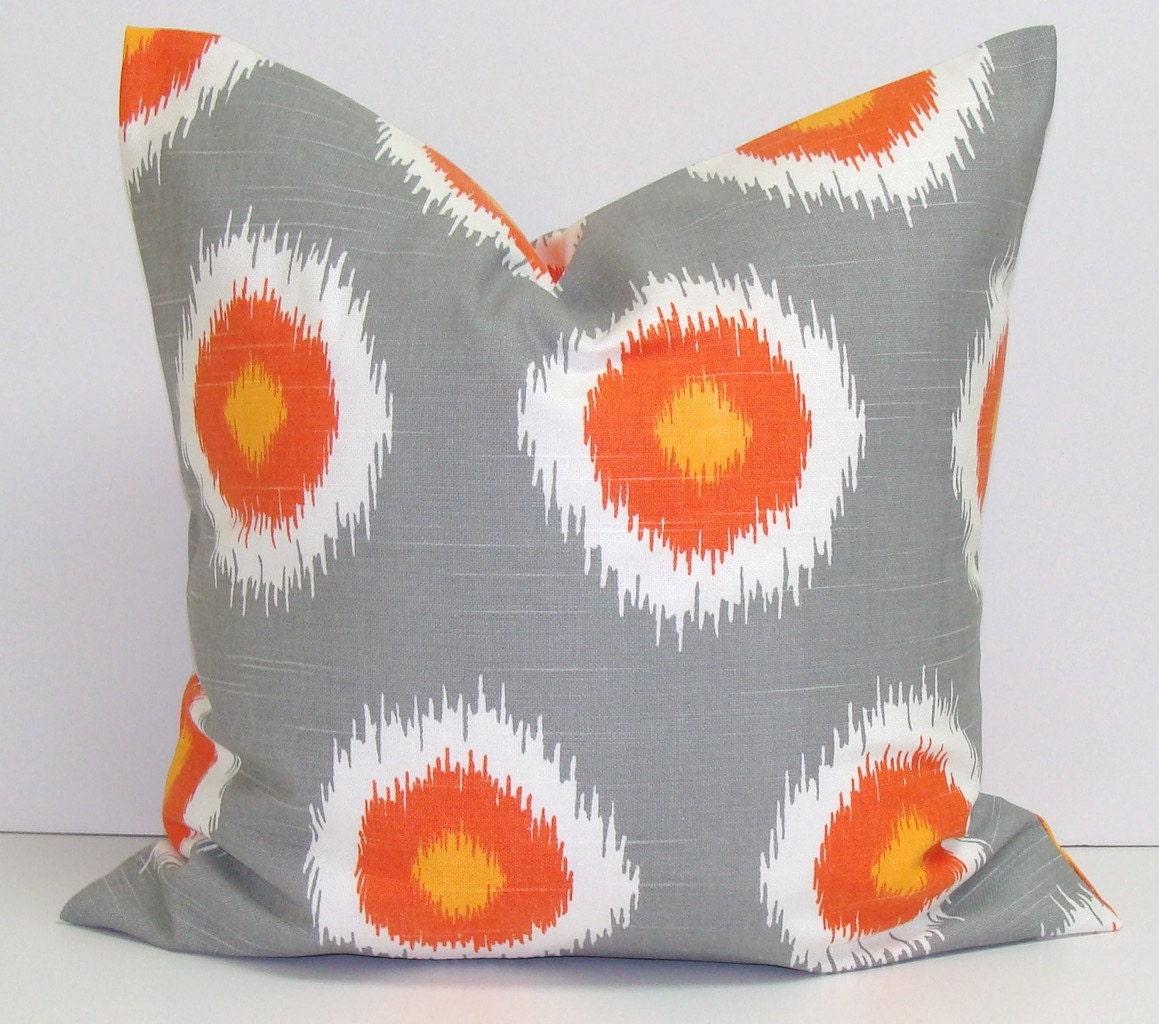 Chevron.Ikat.Pillow Covers.TWO PIECE SET..Orange.Gray.16x16 inch.Decorator.Housewares.Home Decor.Fall Decor.Ikat.Chevron.Ikat