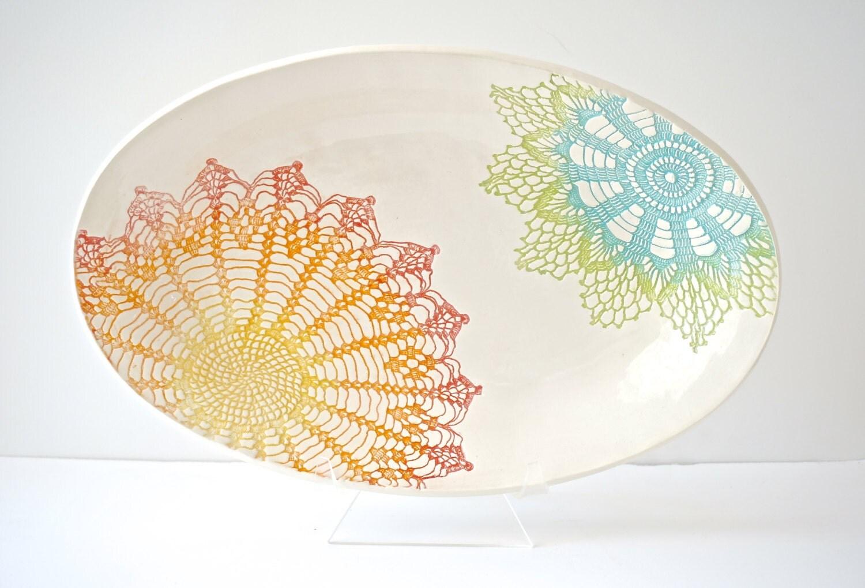 Rainbow (green, blue, yellow, orange, red) Fiesta Deep Platter - Ready to be shipped - MudHandChan