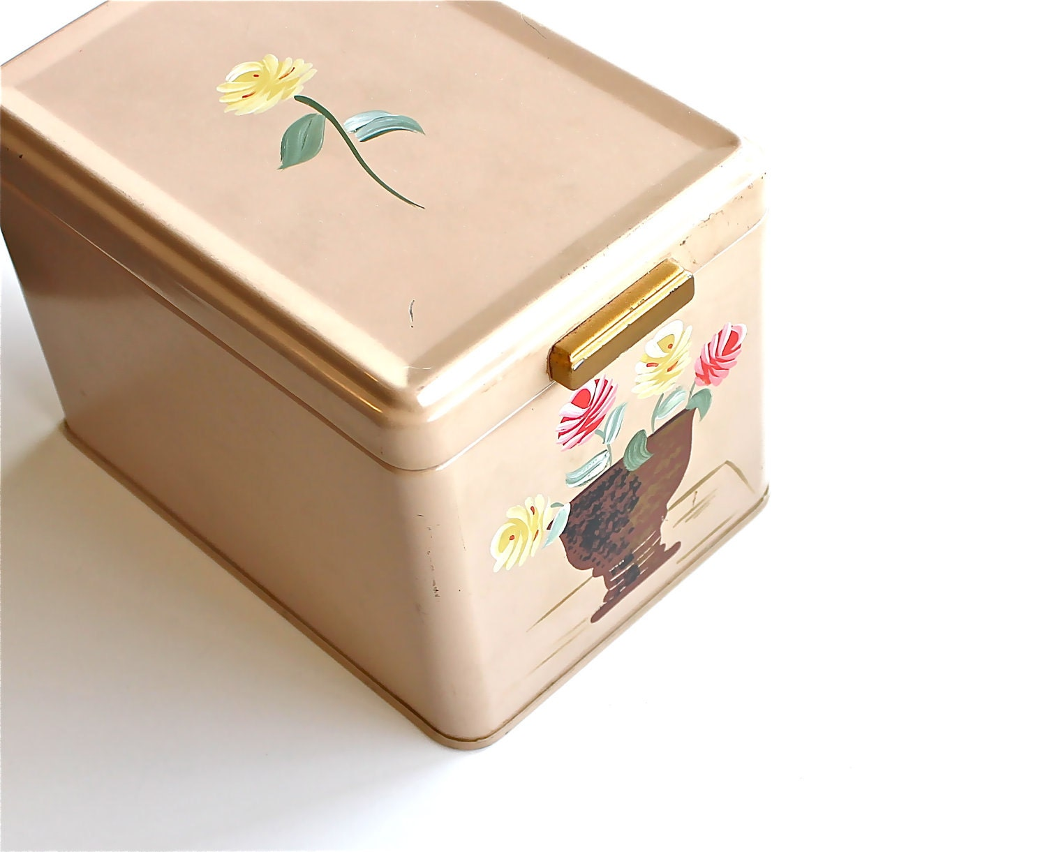 Shabby Chic Storage - Vintage Ransburg Tin