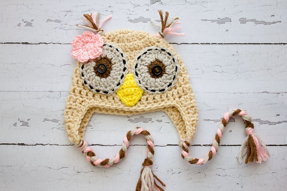Crochet Newborn to child girl Owl hat photography prop infant girl hat photo prop crochet baby hat - Stephyscrochet