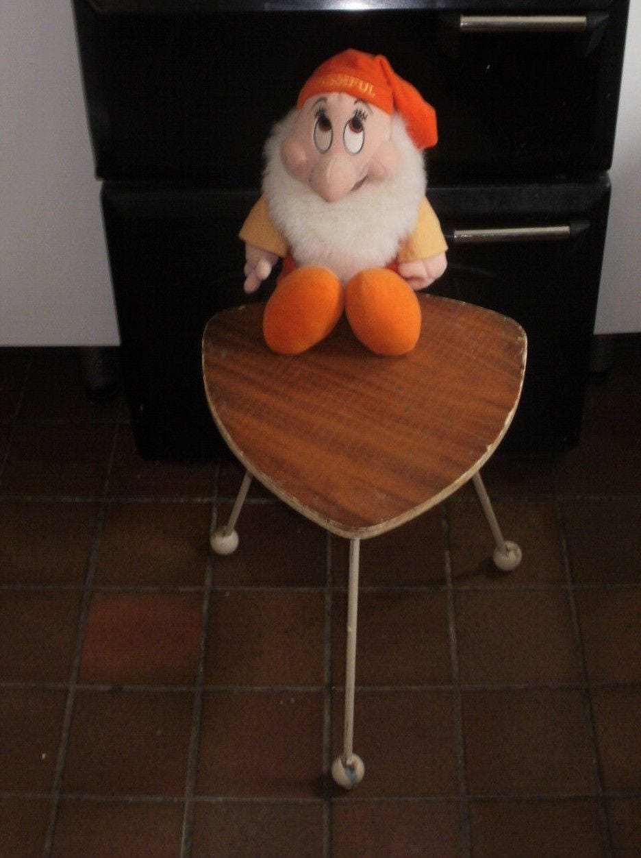 Vintage 1950s Triangle Tripod Table Coffee Side Lamp Table Atomic Ball Feet Metal Legs Mid Century Retro Chic
