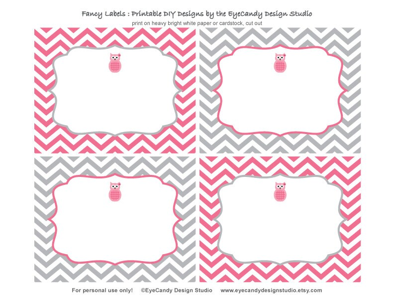 Printable Owl Fancy Labels Owl Girl Party by ...