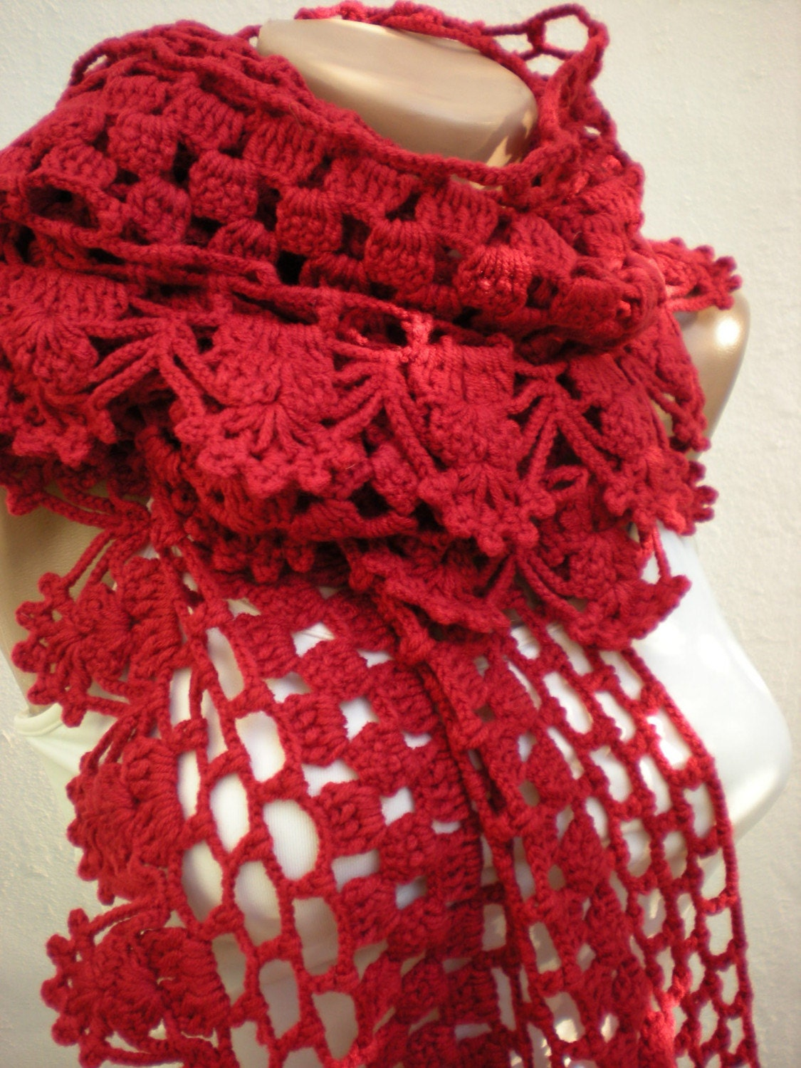 Free Crochet Patterns For Christmas Scarves : ON SALE Holiday Crochet SCarf Valentines Scarf Crochet ...