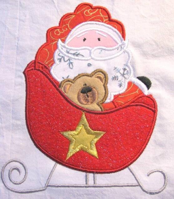 Items similar to christmas santa sleigh machine applique