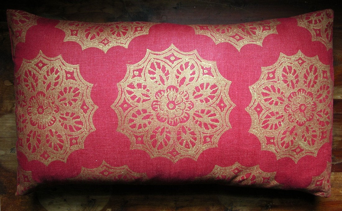 Red and Gold Lace Medallion Extra Long Lumbar Pillow