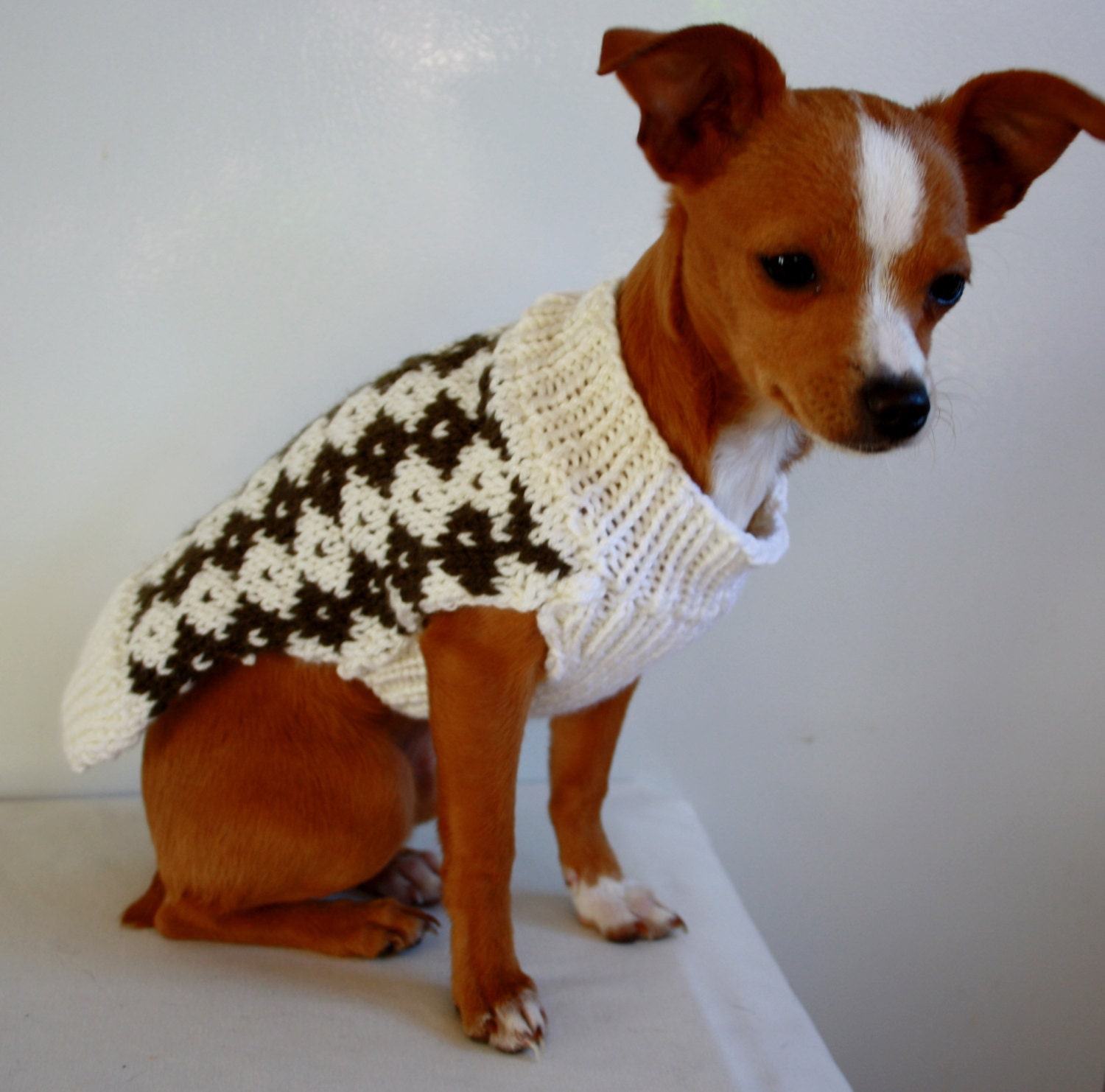 Small Dog Sweater Knit White and Brown Diamonds by PetzCouture