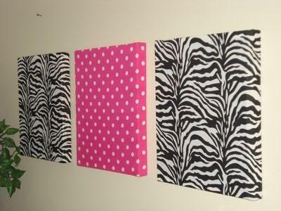 2 Black and White ZEBRA PRINT, & 1 Hot Pink POLKA DOT - WALL HANGINGS