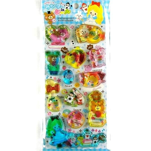 Kawaii Glittery Water Beads Stickers Alice in Wonderland By Pool Cool L Size (S63)
