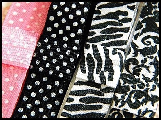 Set of 4 Specialty Patterned Stretch Elastic Headbands - Pink Polka Dot Black Polka Dot Damask and Zebra