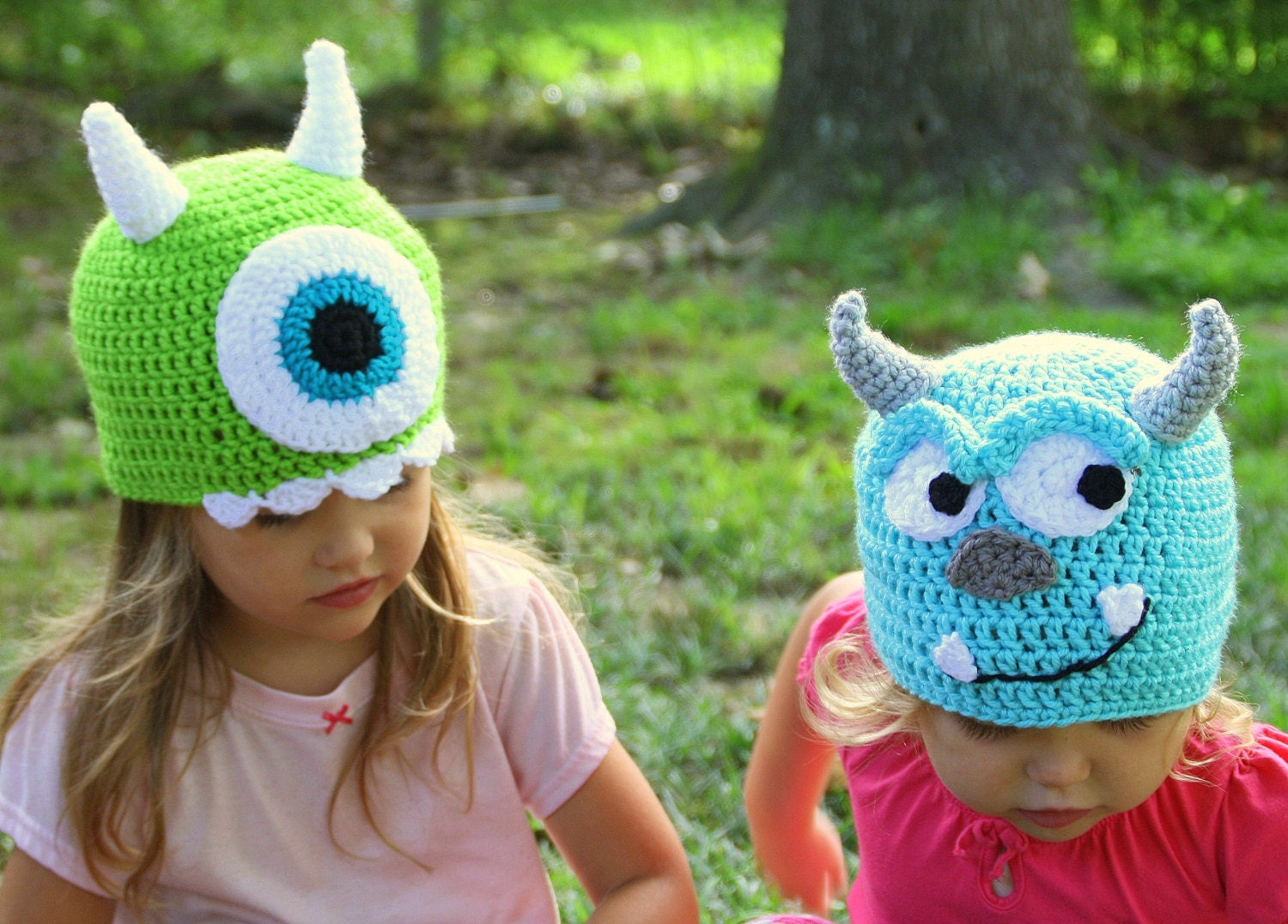 Items similar to Mike and Sully Crochet hats Monsters Inc ...
