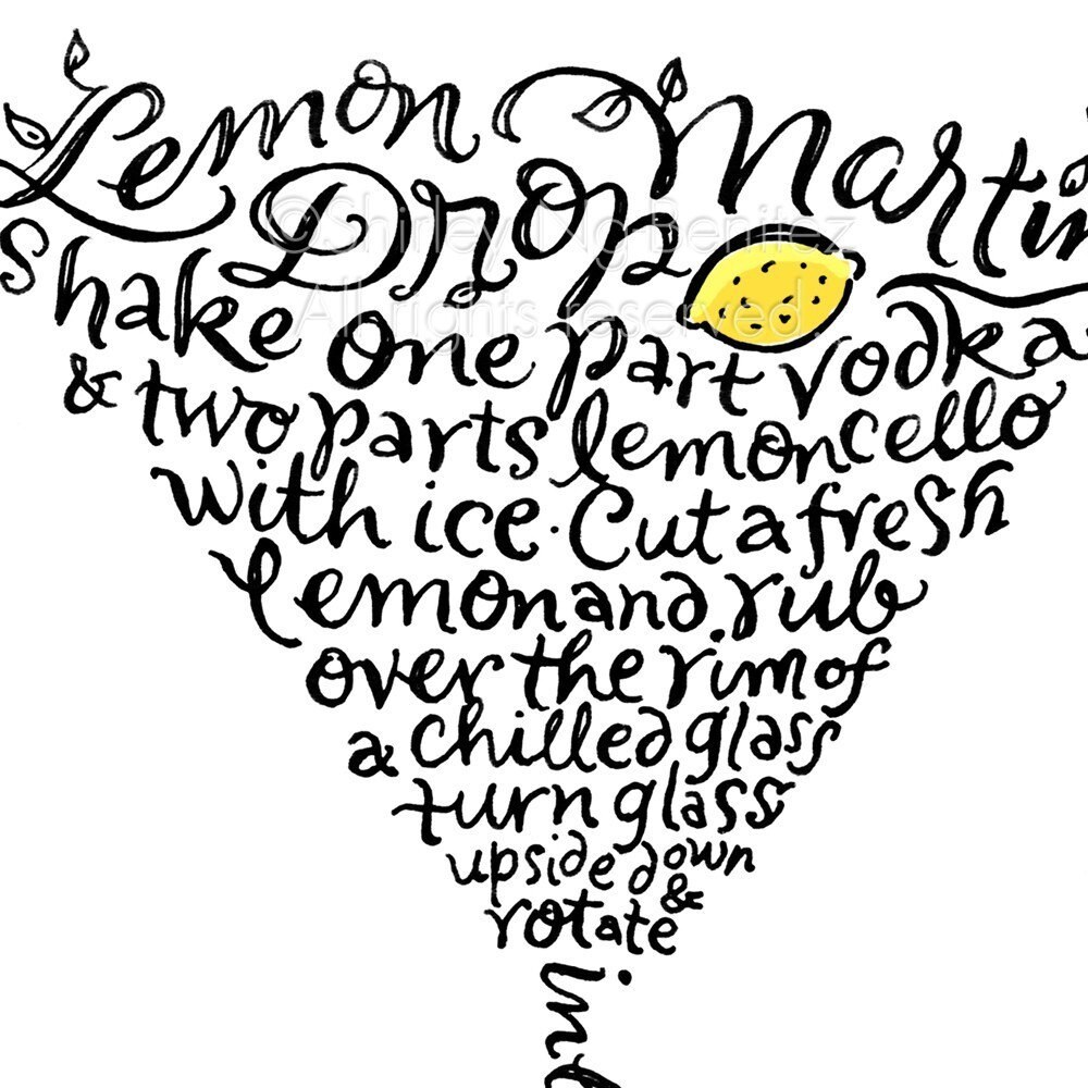 Handlettered Lemon Drop Martini Recipe Art Piece - Black and Yellow