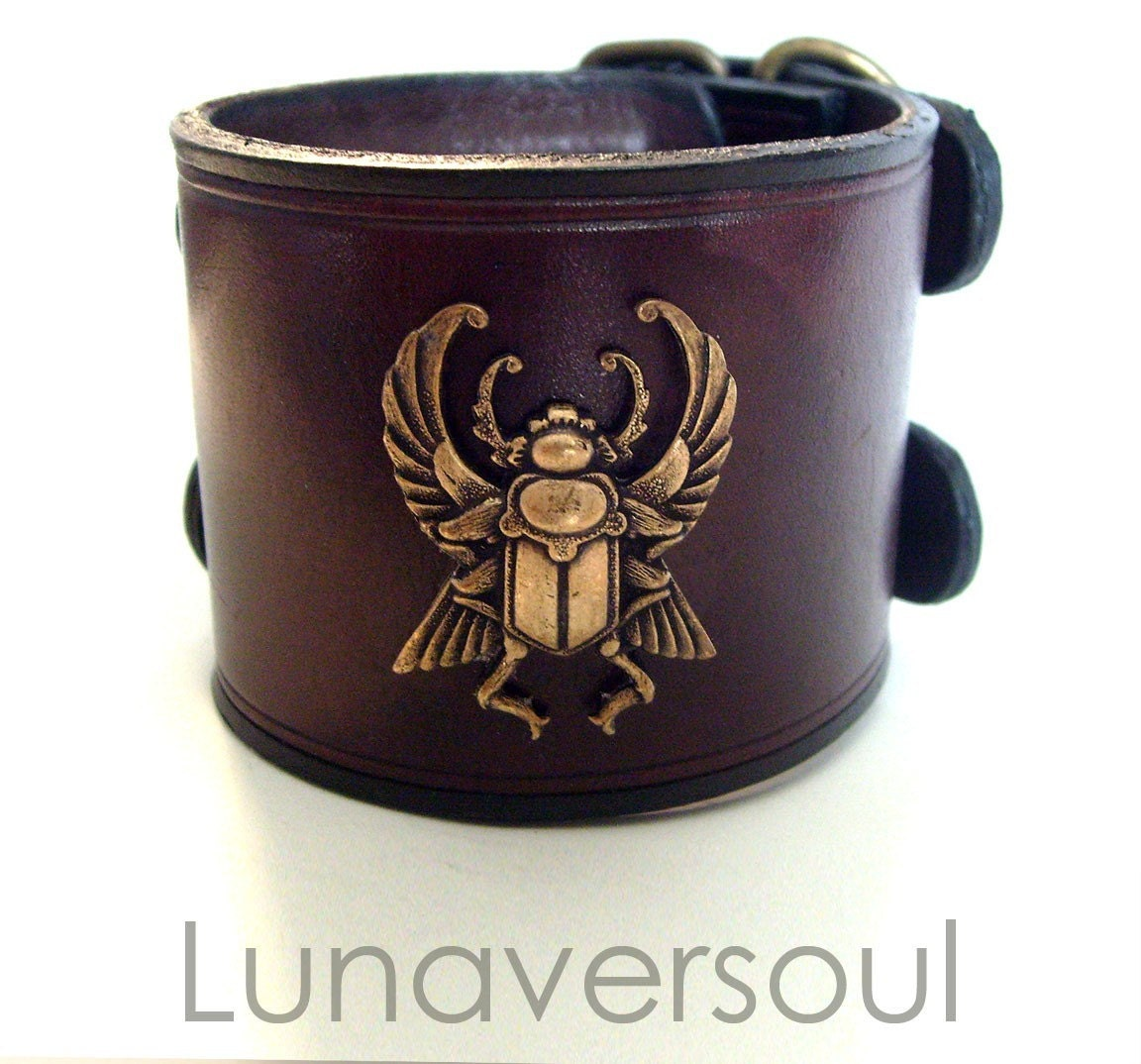 Etsy :: Lunaversoul :: Khepri Leather Cuff in Brown from etsy.com
