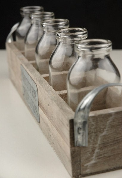 Shabby Chic Wood Crate with Glass Milk Bottles