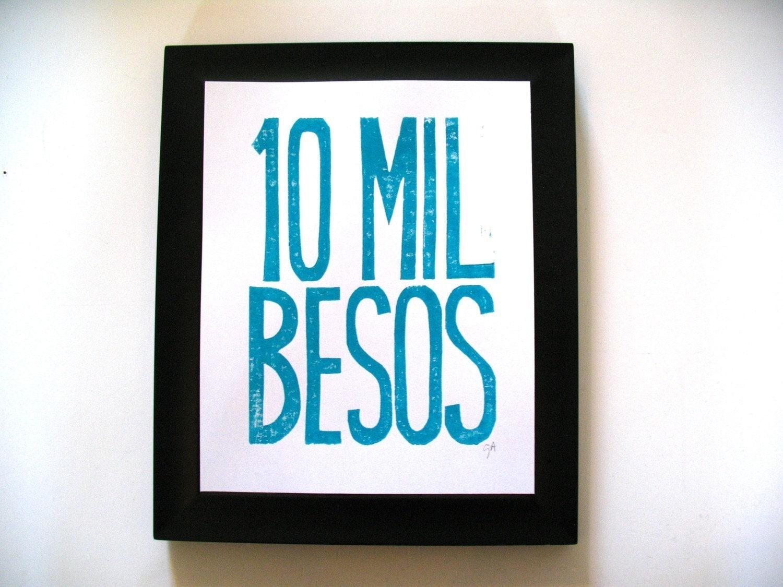 PRINT - 10 mil besos TURQUOISE BLOCK PRINT 8X10