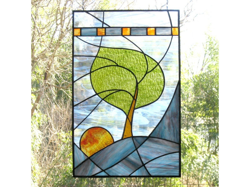 Handmade Stained Glass Panel Window Modern Landscape Blue Turquoise White OOAK - Windy Sunrise