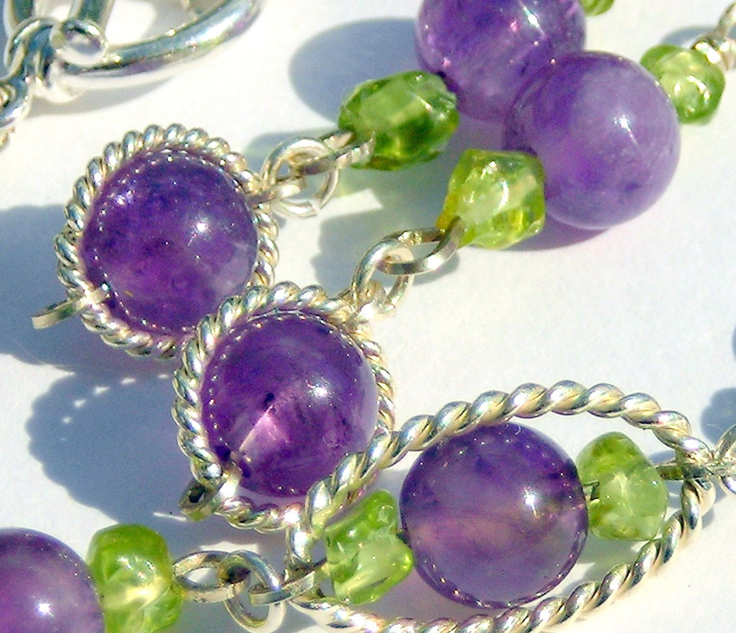 Amethyst and Peridot Sterling Silver Bracelet and Earrings set