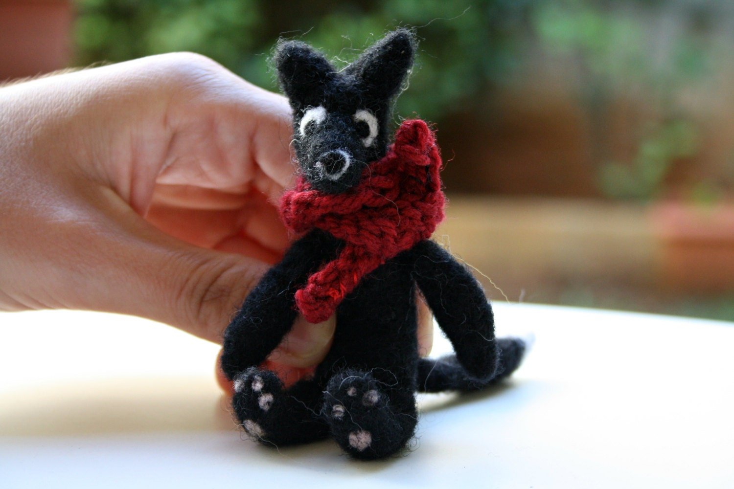 Black Wolf / Needle Felted Doll With Scarf - Phizzwizards