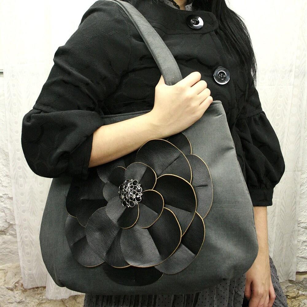 Black Lotus Flower Handbag