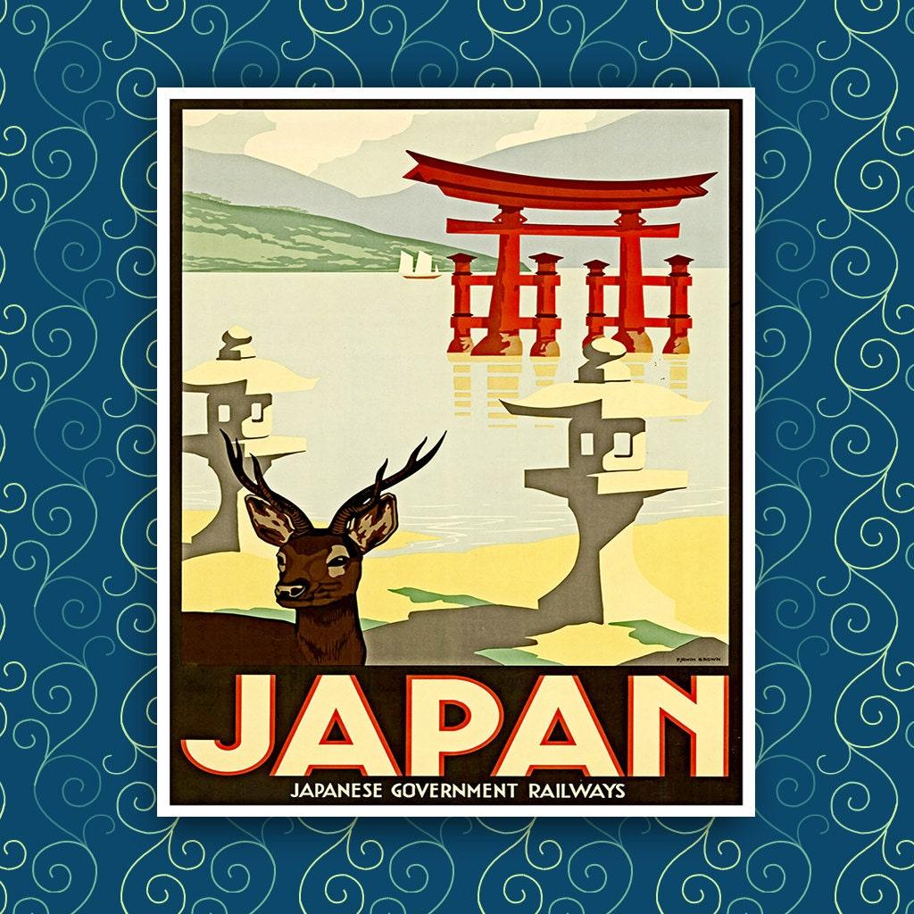 "Japanese Art Print Deer 8x10"" --A56 - AtlasTravelArts"