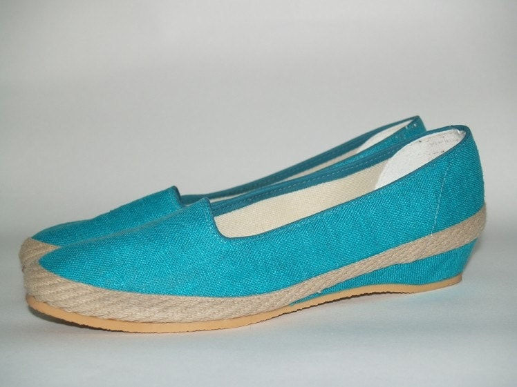 Vintage Teal Canvas Espadrille Wedges Size 7.5