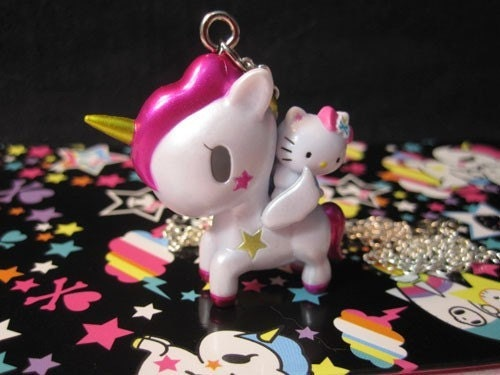 Tokidoki Unicorn and Hello Kitty Necklace. From Candychick