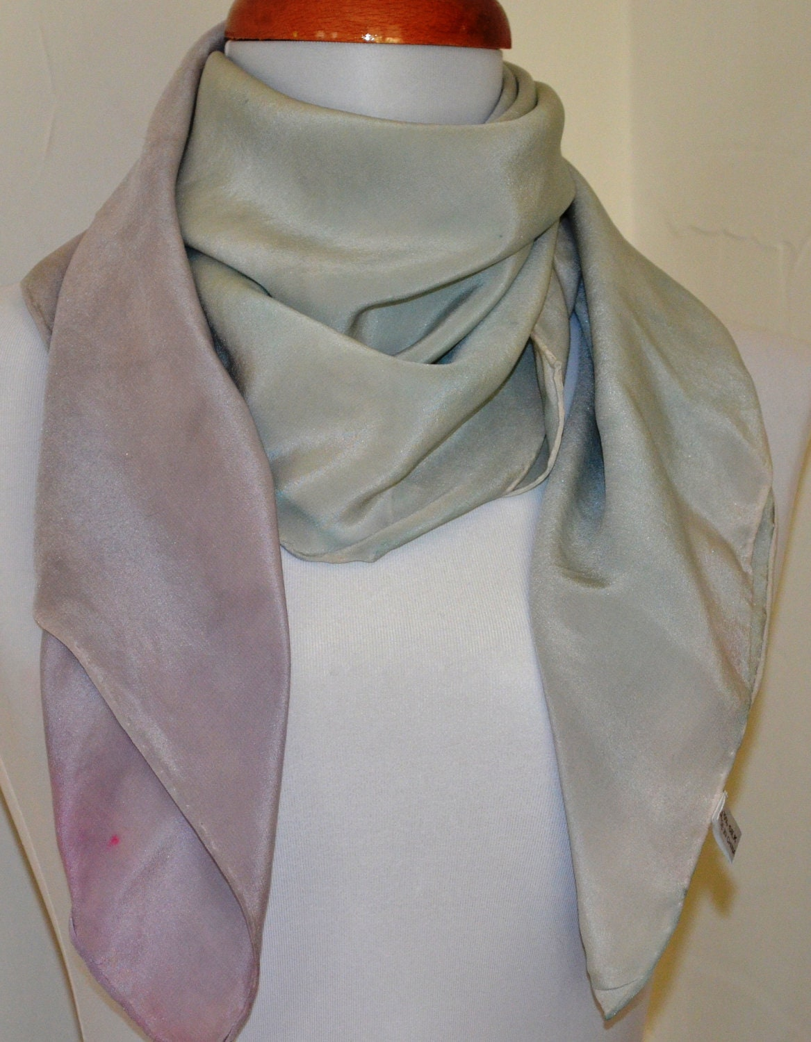 Gray and Lavender Silk Scarf