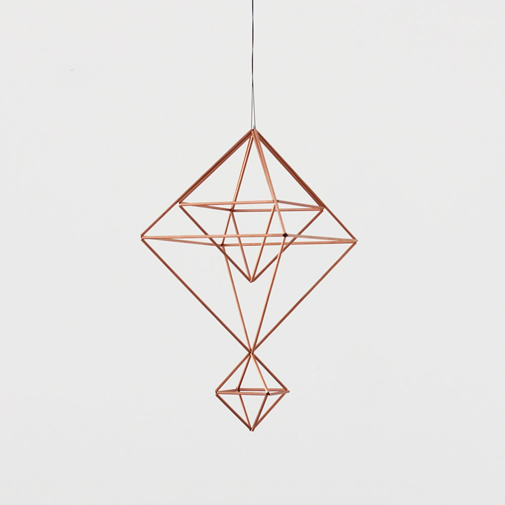 Copper Himmeli no. 7 / Modern Hanging Mobile / Geometric Sculpture