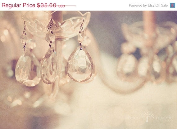 SALE Crystal Chandelier, Sparkle, Warm, Champagne Bokeh, Fine Art Abstract Photograph, Home Decor, Home Art, 8x12 Print - HelenMPhotography
