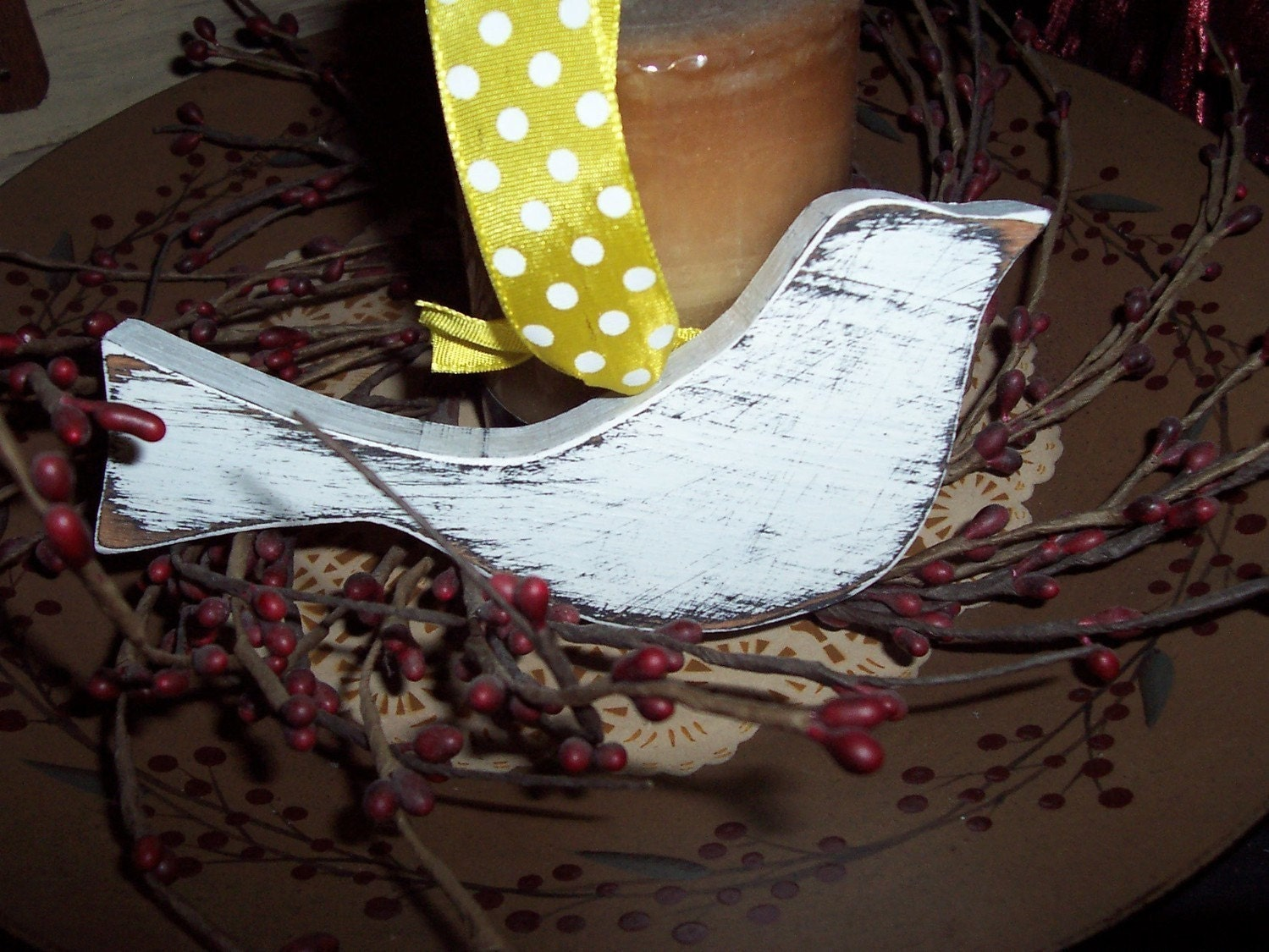 French Country Shabby Wooden Bird With Ribbon Painted Ornament
