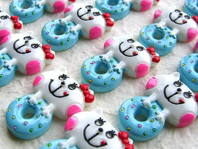 Kawaii Cute  Japanese Cabochons Cat And Doughnuts 20 pieces MINT BLUE and WHITE