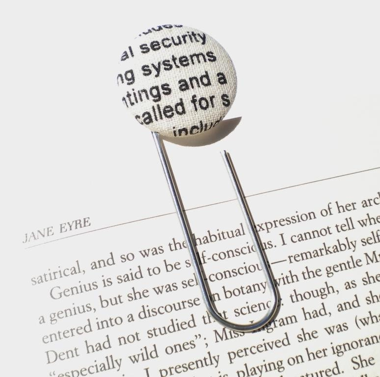 For Julie-Ann - Newspaper design - Button Paperclip Bookmark Teachers Gift Book Club Reading