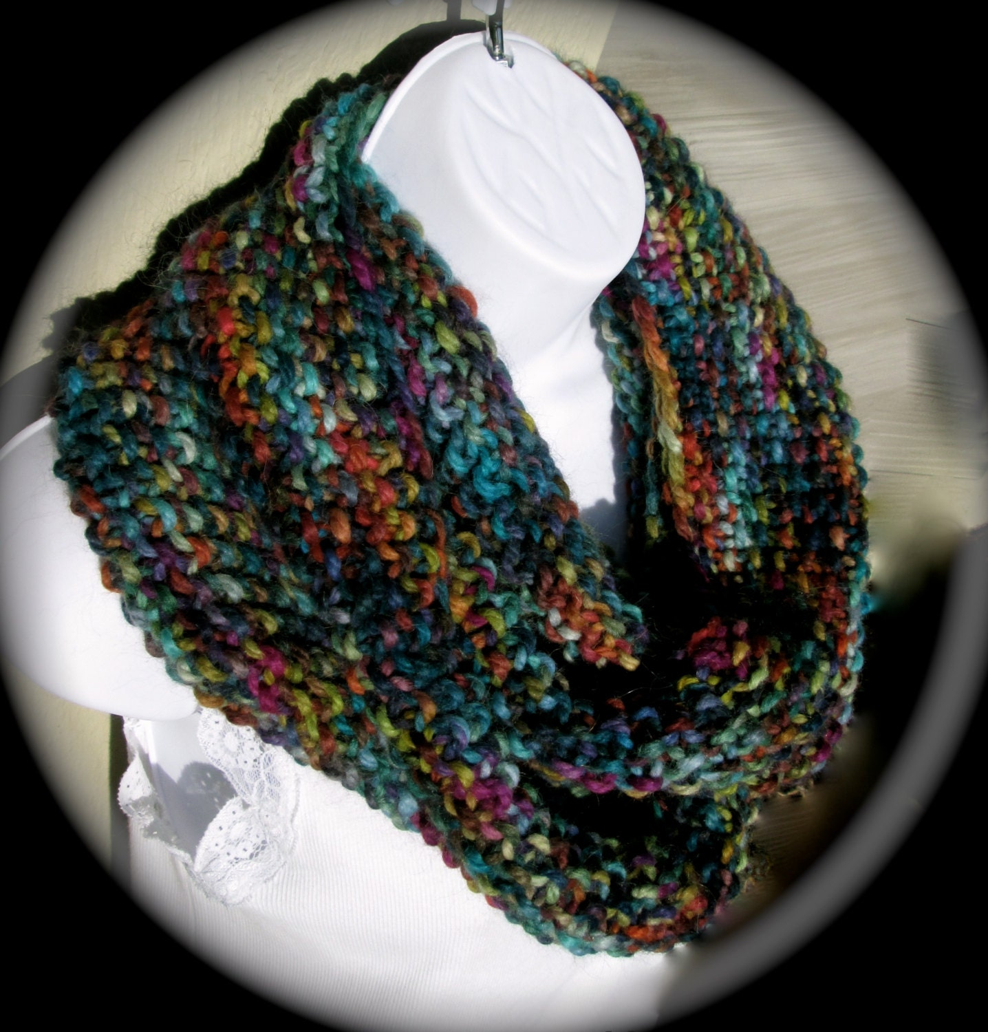 Hand knit seed stitch Gaptastic multicolored cowl in by caramia