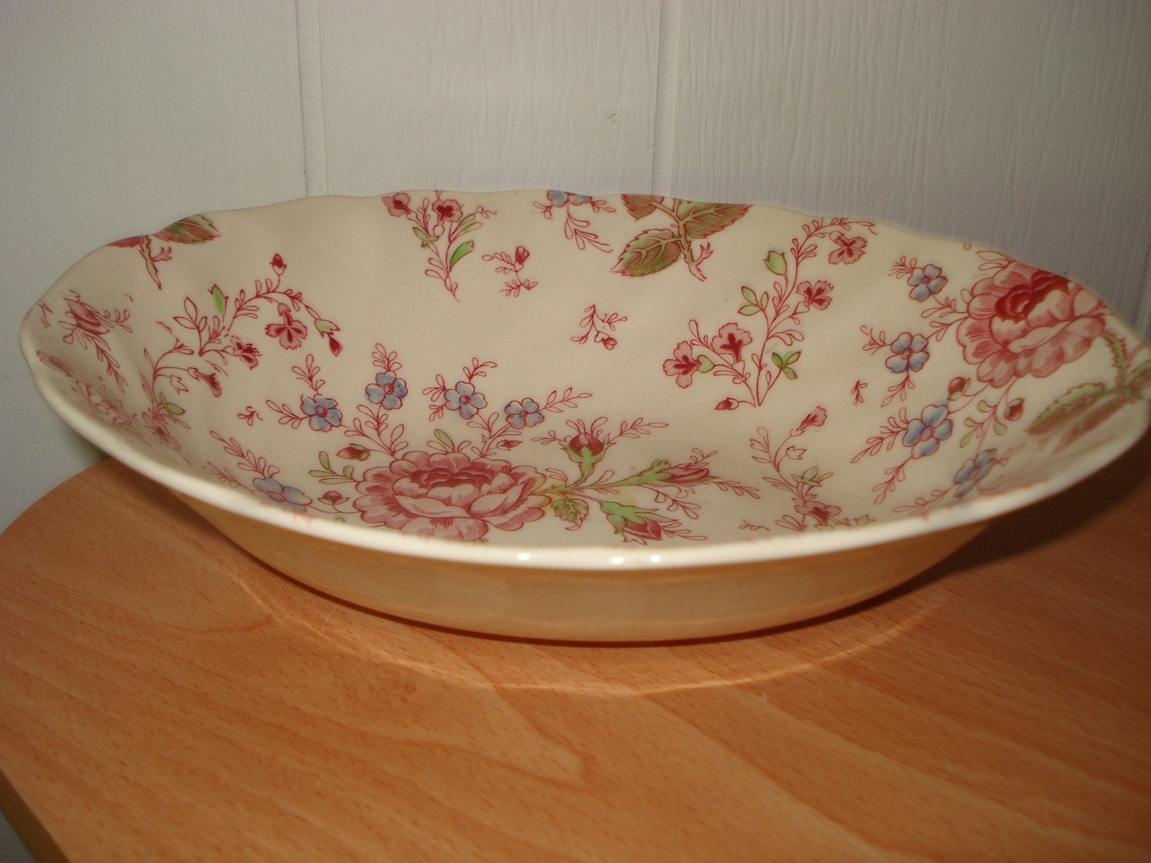 Vintage 1950's Rare England Johnson Brothers Rose Chintz Oval Serving Dish Bowl