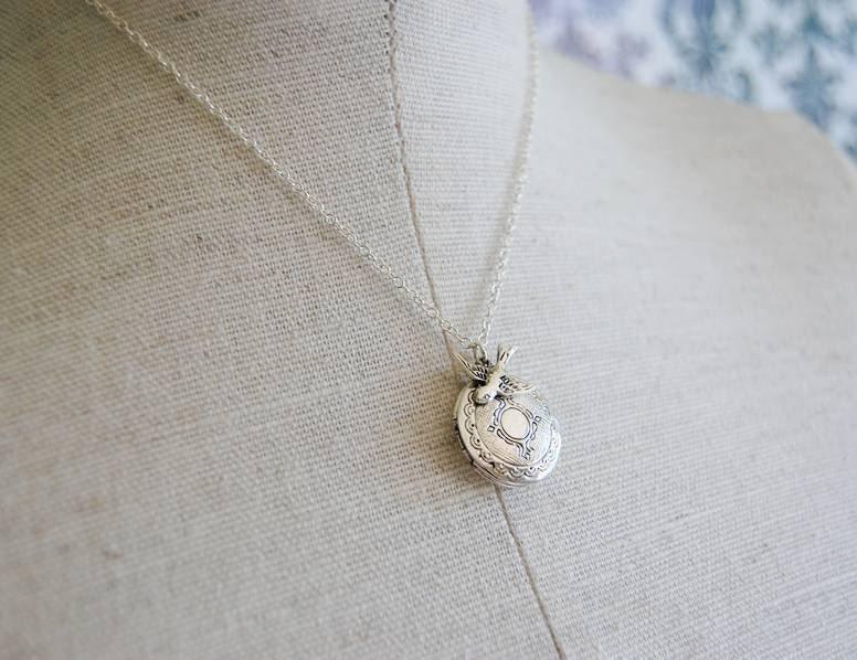 verabel Vintage Silver Locket and Bird Necklace