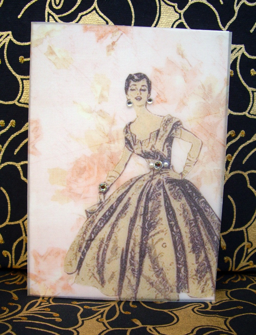 Jacqueline Card / Vintage Printed Collection / 50s Glamour Girl / Handmade Greeting Card