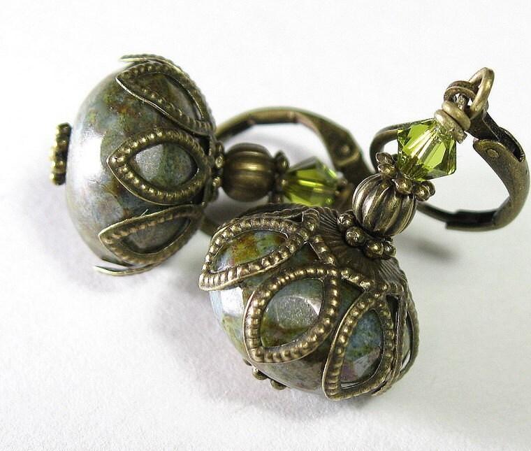 Antique Green Czech Glass, Swarovski and Brass Earrings