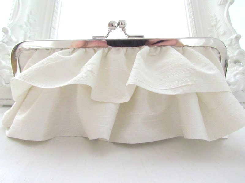 AVA Silk Dupioni Tiered Ruffle Clutch