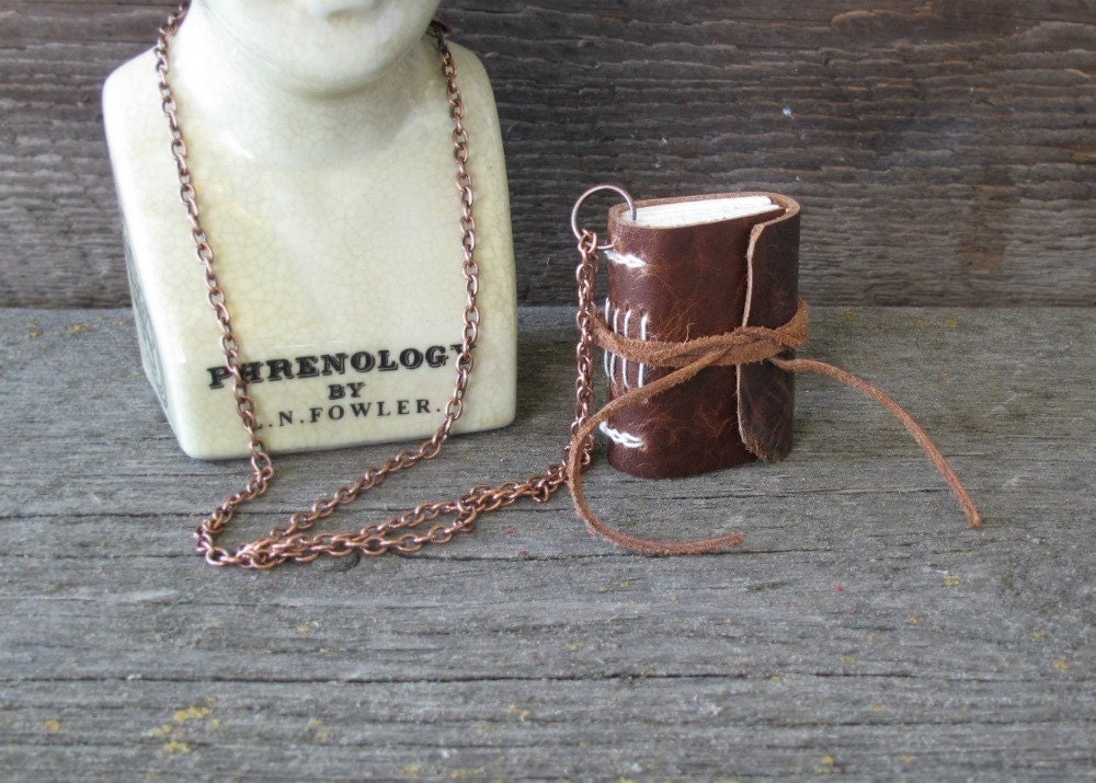 The Art You Are. Medium leather journal necklace