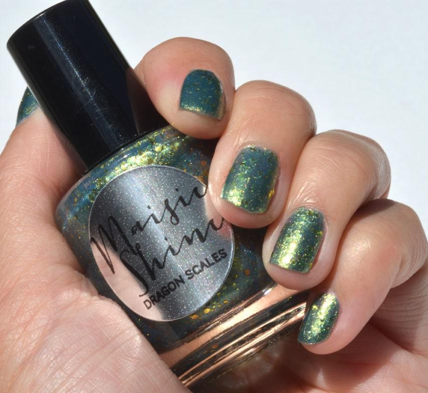 Nail Polish: Dragon Scales - Greenish Blue Polish with Gold Glitters