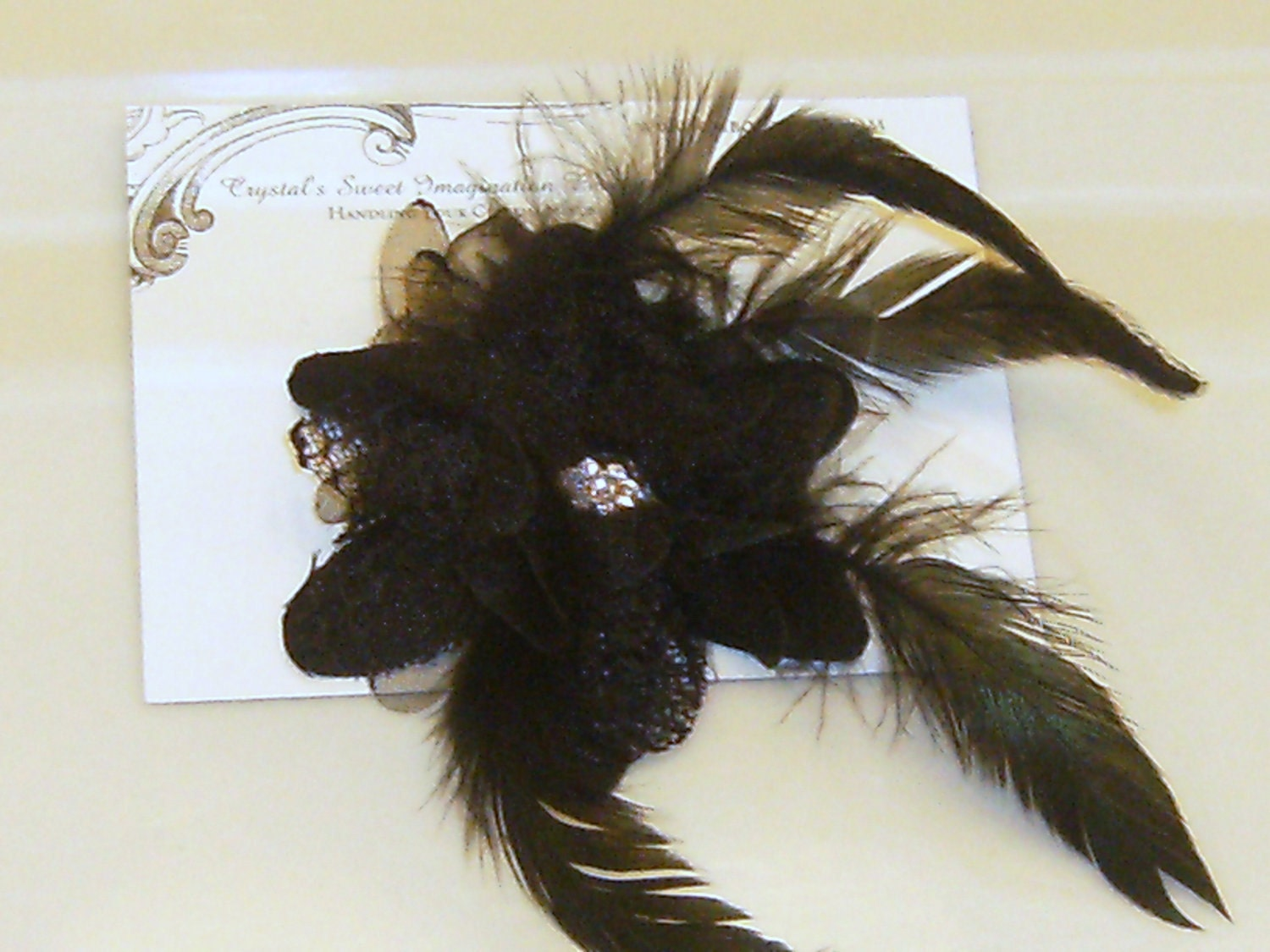 Ebony: Black Rose Fascinator With Feathers and A Rhinestone Center