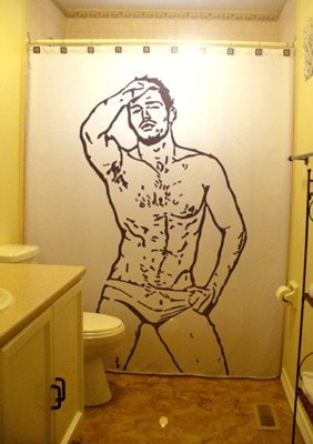 Naked and happy shower curtain