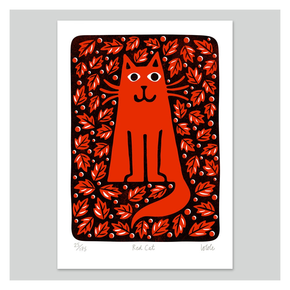 Red Cat by Lo Cole - Limited Edition Print - locole