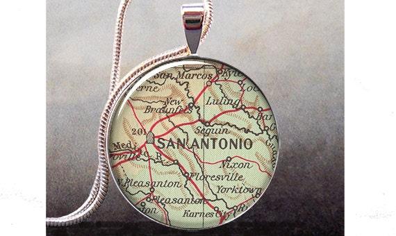 san antonio map necklace san antonio map by thependantemporium