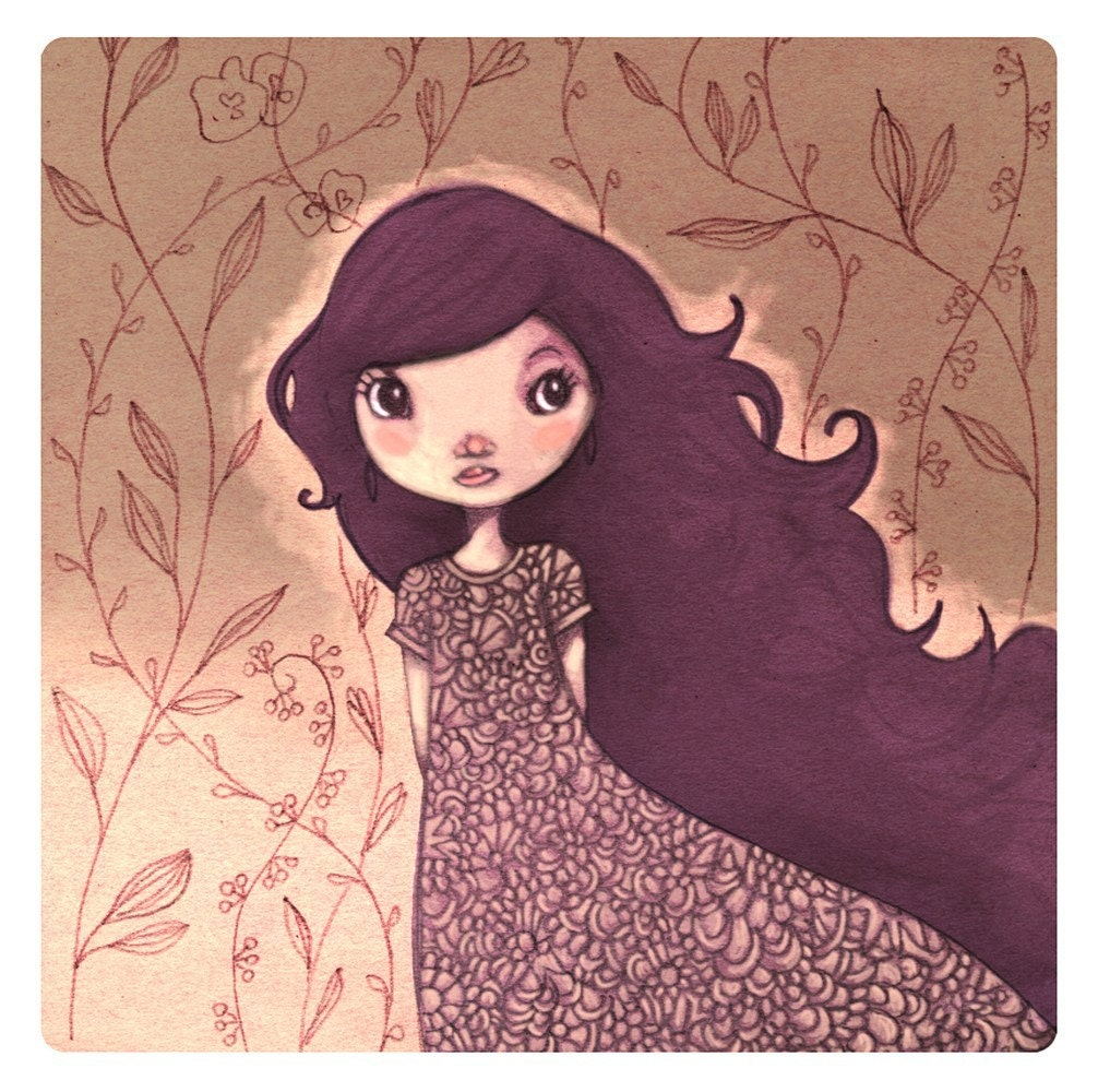 Miss Lou  - square PRINT -   21cm  -   8.2 inch